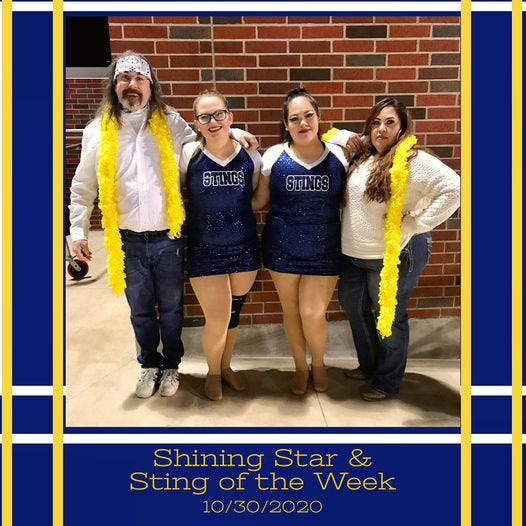 The Stephenville High School Stingerettes recognized sophomores Lexi and Yanira along with our guest parent performers for their efforts the week of the Oct. 30 at the Heritage HS game.