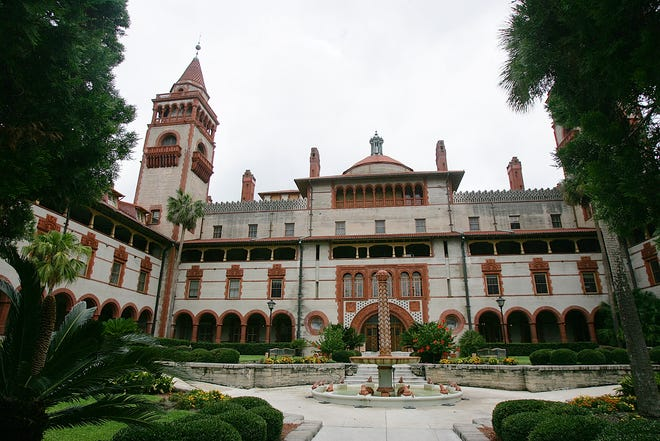 The garden and courtyard area of the former Ponce DeLeon Hotel on the campus of Flagler College in St. Augustine. The building is a National Historic Landmark.