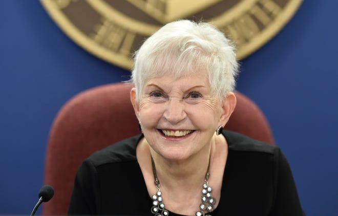 Sarasota County School Board chairwoman Caroline Zucker is all smiles Tuesday before her final meeting starts. Zucker opted not to seek reelection this year after having served two stints on the board, from 1992-2000 and again beginning in 2006.