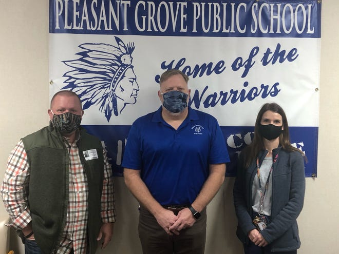 From left to right: Pleasant Grove Superintendent Scott Roper, David Holland the PFS Coordinator for Gateway to Prevention and Recovery and Rhiannon Webb Pleasant Grove School Nurse.