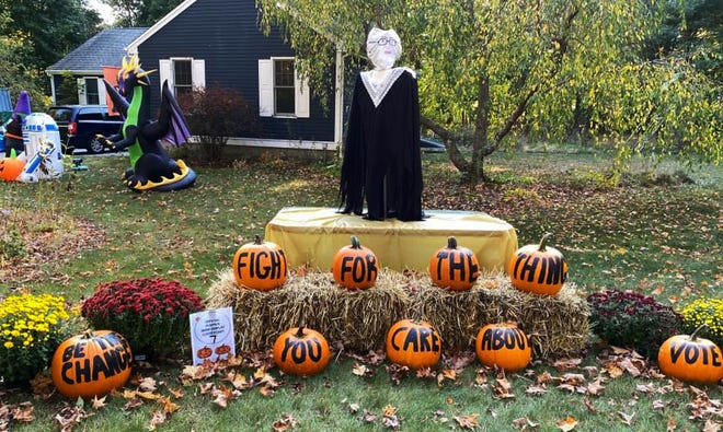 A Middleboro Pumpkin Romp display pays tribute to late Supreme Court Justice Ruth Bader Ginsburg. Pumpkin Romp winners were announce last week. [Submitted Photo]