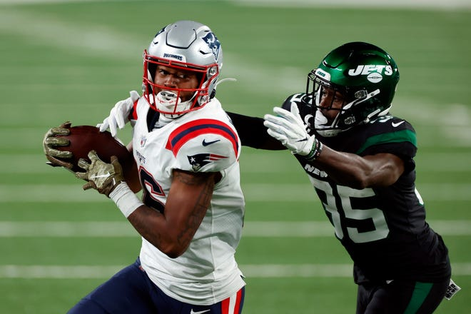 New England wide receiver Jakobi Meyers looks to break loose during Monday's game.