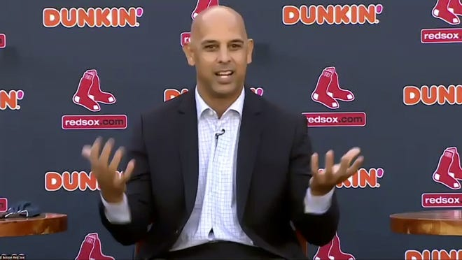 In an image from an online video news conference provided by the Boston Red Sox, new manager Alex Cora speaks to the media Tuesday at Fenway Park.