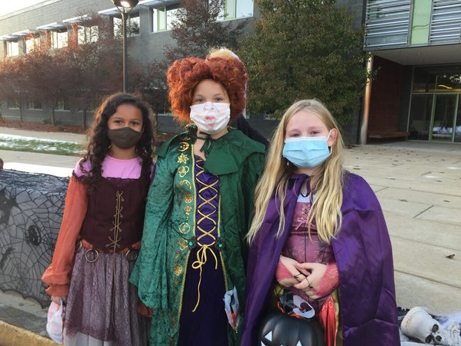 Lydia Keefe, Addie Wetherall and Brooke Mackenzie took part in the Alternative Halloween held by the Boylston Lions, Boylston Police and Boylston Fire on Oct. 31. The trio were at Tahanto, one of the locations for the untraditional trick-or-treating event.