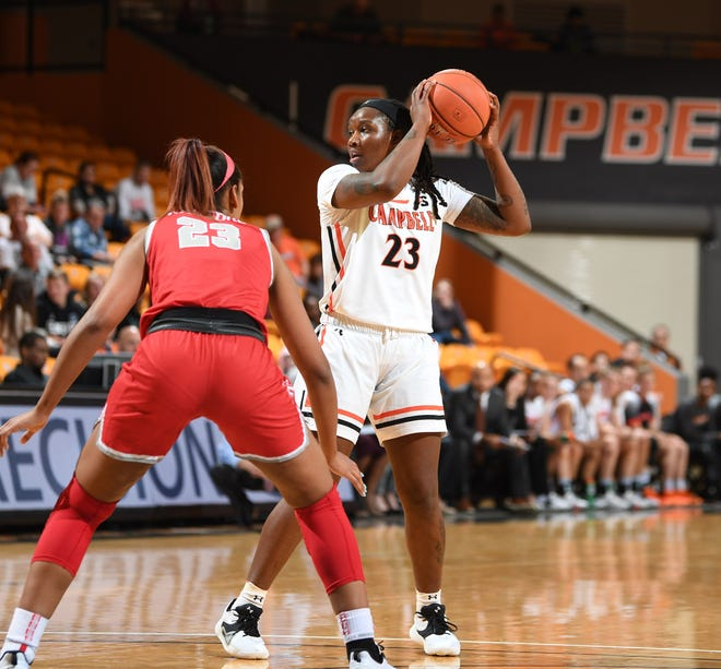 Campbell redshirt senior Taya Bolden (23) was the top rebounder last season for the Camels, who won their first league title since 2001 and are favored to repeat this season.