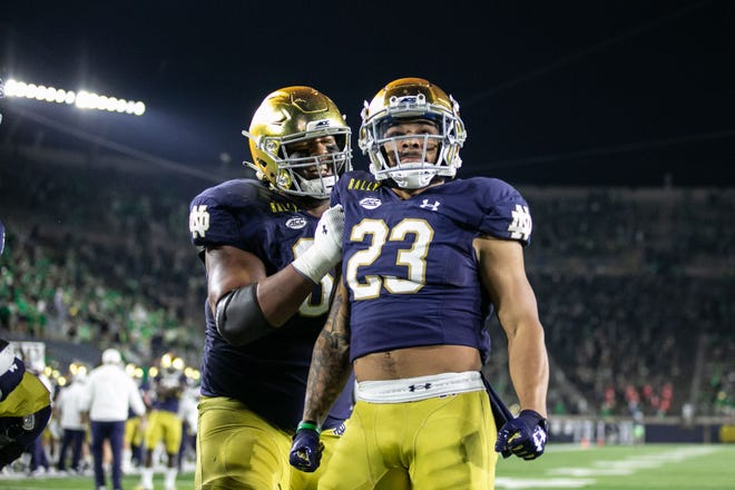 Notre Dame's Kyren Williams scored on a 3-yard touchdown run in the second overtime of the Fighting Irish's win over then-No. 1 Clemson last week on the way to a 47-40 victory.  Williams racked up 140 yards rushing and three touchdowns as Notre Dame moved up to No. 2 in the AP Top 25 and USA TODAY Amway Coaches Poll.