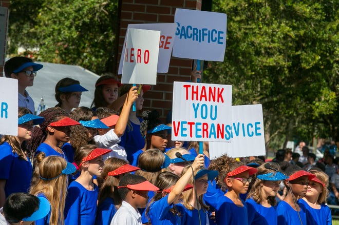 Elementary school students thank veterans during a Veterans Day ceremony at Ocala-Marion County Veterans Memorial Park in 2019.