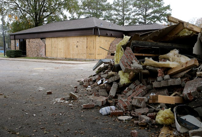 The Fosters Post Office is closed after it was hit by a vehicle and damaged. The debris from the damage is show Tuesday, Nov. 10, 2020.  [Staff Photo/Gary Cosby Jr.]