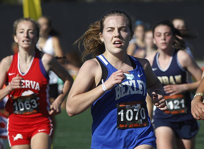 Bexley senior Karleigh Place placed 89th in the Division II state cross country meet Nov. 7 at Fortress Obetz. Coach Eric Acton said the seniors on the boys and girls teams kept all the runners focused this season.