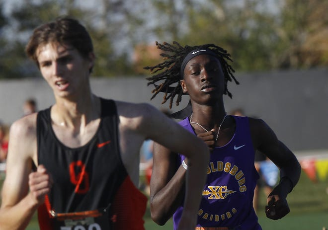 Reynoldsburg senior Seth Davis, right, placed 59th in the Division I state cross country meet Nov. 7 at Fortress Obetz. He improved from finishing 98th as a junior.