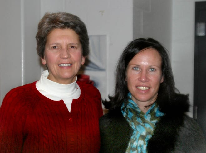Nancy Darsch (left) and Allison Foley were the guest speakers at the Plymouth North/Plymouth South Captain's Lunch in 2011.