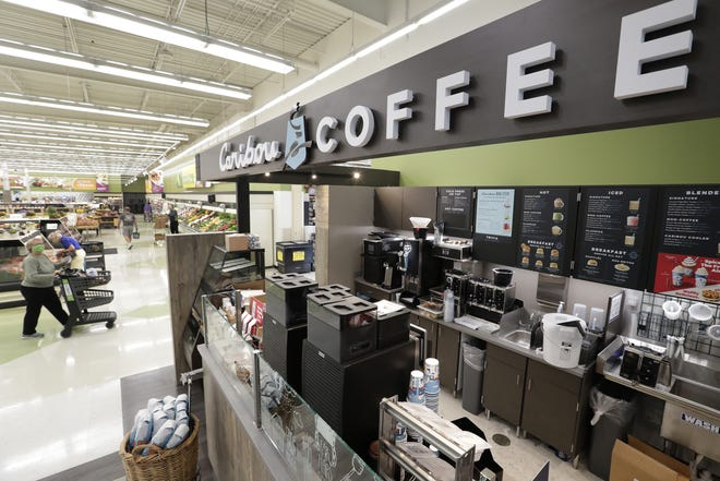 The first Caribou Coffee counter in northeast Wisconsin is the big draw in the new food court opening Friday inside Festival Foods on Northland Avenue in Appleton.