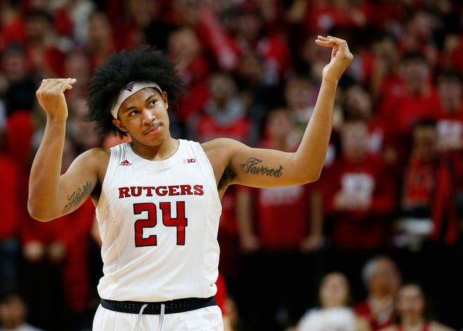Rutgers guard Ron Harper Jr. is averaging 22.1 points per game this season for the 15th-ranked Scarlet Knights.