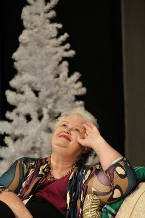 """Silda Grauman (Susan Steele) reacts to the conversation in the Wyeth home just before Christmas in this rehearsal scene for Abilene Community Theatre's production of """"Other Desert Cities,"""" which Friday opens a two-weekend run."""
