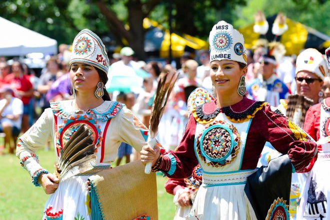 A Lumbee Homecoming powwow is shown on on July 6, 2019, in Pembroke in Robeson County.