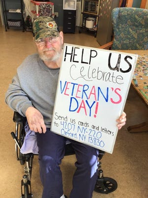 With Veterans Day events canceled due to COVID-19, the staff of the New York State Veterans Home in Oxford asked the community to send cards as a surprise to isolated veterans. Photo courtesy of New York State Veterans Home