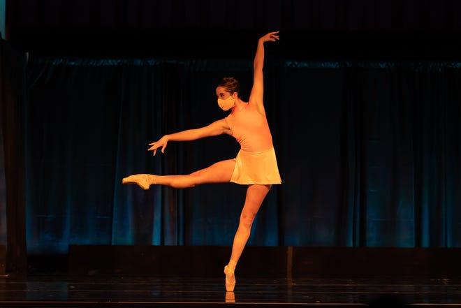 "Cincinnati Ballet dancer Samantha Griffin is seen in a portion of ""Viva Vivaldi,"" a duet choreographed by company artistic director Victoria Morgan for the recent ""Cincinnati Made"" series in the Music Hall Ballroom. Photo: Hiromi Platt."