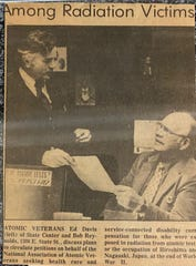 Newspaper clipping about Ed Davis' work with the National Association of Atomic Veterans.