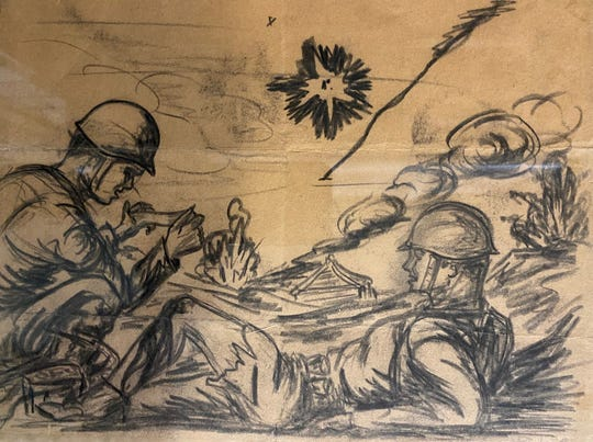 An artist embedded with Marines on the Ryukyu Islands in World War II drew this pastel drawing of a medic tending to Ed Davis after a Japanese bomb exploded under Davis' feet, mangling his leg. Davis cherished the drawing and hung it in his Iowa home next to the Purple Heart medal he received after the injury.