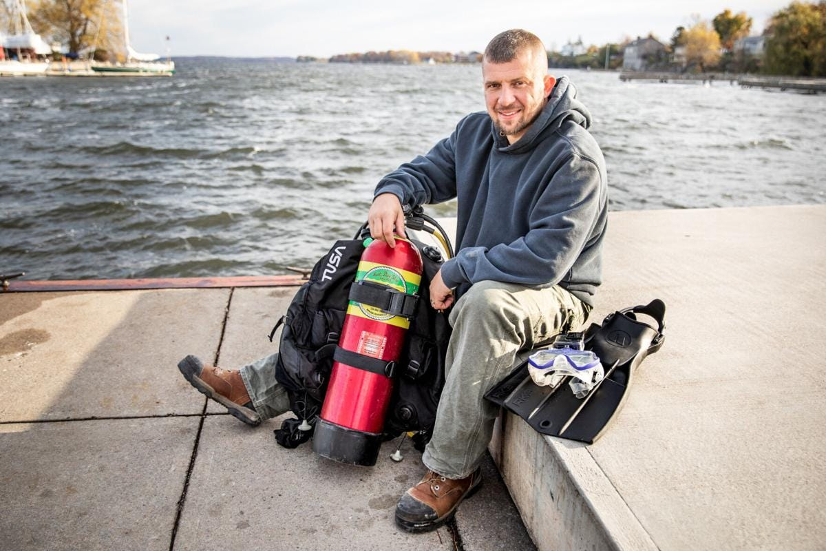 Daniel Gildea found the bottom portion of a shipwrecked boat while diving in Lake Ontario.