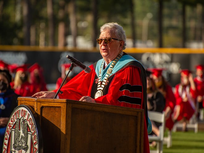 University of Louisiana at Lafayette President Joseph Savoie speaks at an in-person ceremony recognizing spring graduates Saturday, Nov. 7, 2020, at M.L. Tigue Moore Field at Russo Park. The university conducted graduation virtually in May after a ban on large gatherings due to COVID-19 made the event impossible.