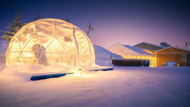 A photo of one of the Garden Igloos set up near Prairie Berry WInery in Hill City. Prairie Berry installed the shelters this fall for its clientele to enjoy the outdoor space during the winter months.