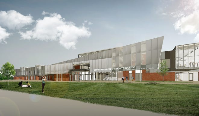 An artist rendering of the new Center for Advanced Manufacturing at Ozarks Technical Community College.