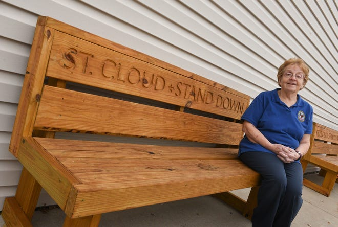 Mary Jo Pine poses for a picture at the St. Cloud Stand Down Tuesday, Nov. 10, 2020, in St. Cloud.