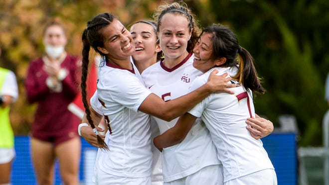 Florida State Jaelin Howell (6) celebrates her goal during the quarterfinals of the 2020 ACC WomenÕs Soccer Championship in Cary, N.C., Tuesday, Nov. 10, 2020.