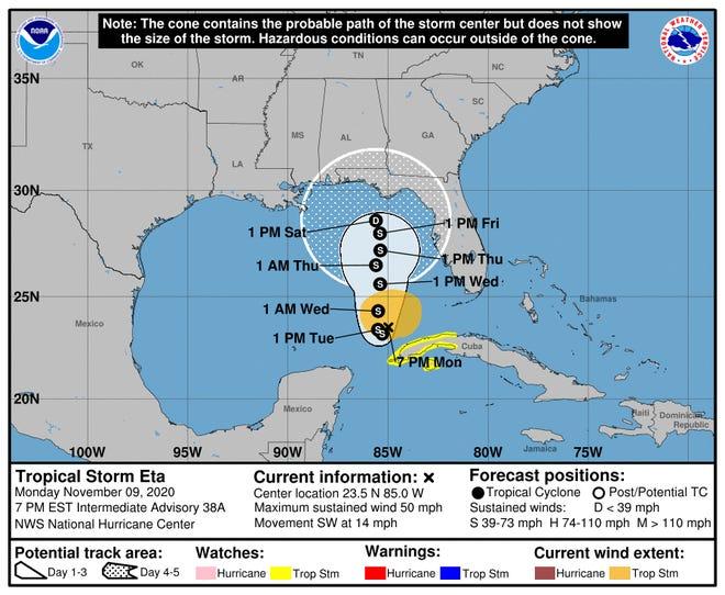 Tropical Storm Eta' probable path as of 7 p.m. Monday, Nov. 9, 2020.
