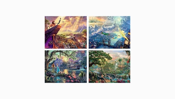 Gifts for Disney Lovers: Thomas Kinkade 4-in-1 puzzle set