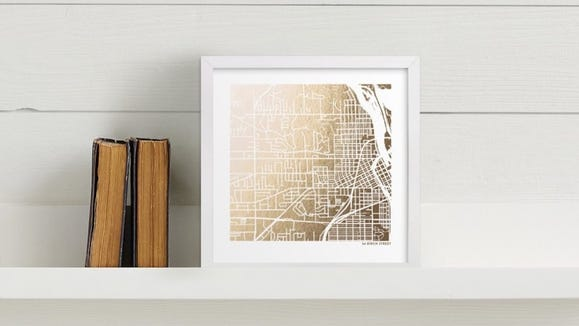 You can choose from gold, silver, or rose gold foil on this customized map.