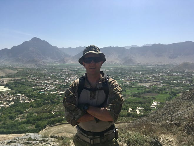 Tobias Switzer at Camp Morehead in Afghanistan, in April 2018.