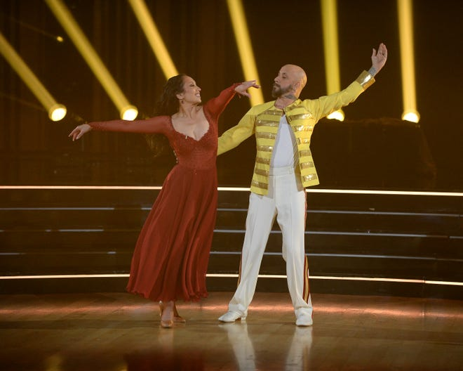 """AJ McLean and his """"Dancing with the Stars"""" partner Cheryl Burke during an episode of the reality competition show."""