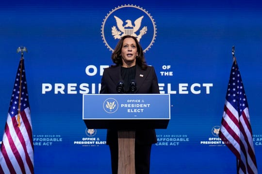 Vice President-elect Kamala Harris speaks at The Queen theater in Wilmington, Delaware on Tuesday.