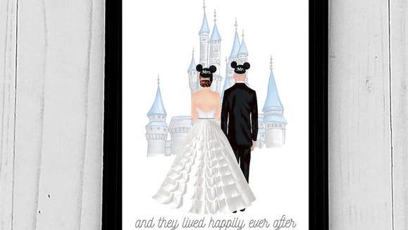 Gifts for Disney lovers: Custom Disney-inspired wedding portrait