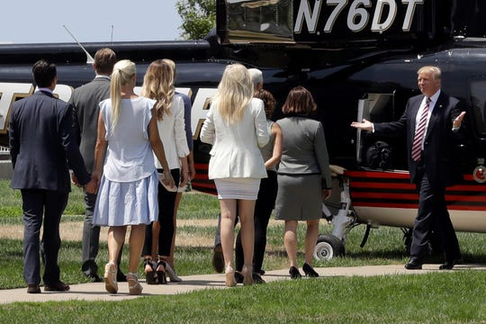 "President Trump is unloads his personal 1989 Sikorsky S76B helicopter, seen here during his 2016 campaign. It was also featured on ""The Apprentice."""