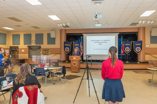 Ascension Academy students and administrators livestreamed Wednesday morning's Veterans' Day chapel service due to the ongoing COVID-19 pandemic.
