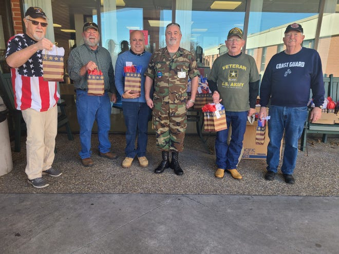 Members of the First Presbyterian Church in Ardmore passed out goody bags to veterans at the Ardmore Veterans Center on Wednesday.