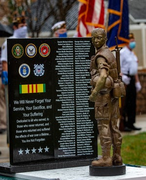 The American Legion Post 436 Penndel Honor Guard took part in the Lower Bucks County Vietnam Memorial Design unveiling, Wednesday, Nov. 11, 2020, at the Middletown Vietnam Memorial Park in Levittown.