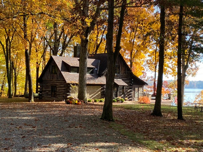 A turn-of-the-century log cabin sits along the Hoover Reservoir, part of a 30-acre tract of land in Genoa Township that will be auctioned off Dec. 2.