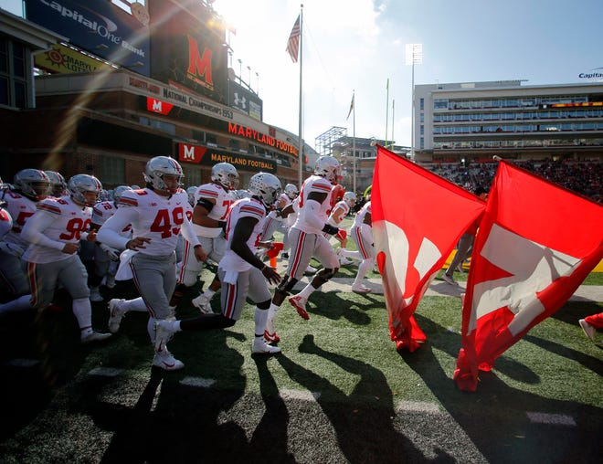 Ohio State takes the field for its 2018 game at Maryland. This season's game was canceled on Wednesday and will not be rescheduled.