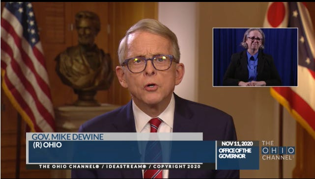 Gov. Mike DeWine speaks to Ohioans on Wednesday about rising COVID-19 cases