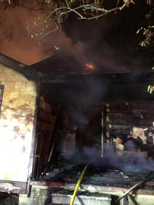 Fire crews battle a blaze Monday night in Thibodaux.