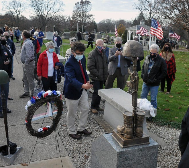 U.S. military veterans Lt. Col. Greg Long and Sgt. Major Richard Winkleman unveiled the first part of their new memorial tribute at the Wayne County Veterans Memorial at the Wooster Cemetery on Veterans Day 2020.