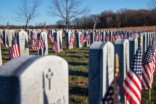 Flags decorate graves at the Iowa Veterans Cemetery for Veterans Day.