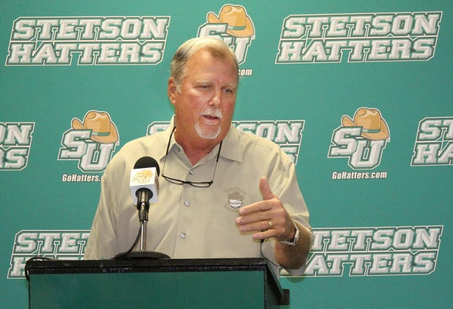 "Stetson baseball coach Pete Dunn announces his retirement after 37 years during a press conference on the DeLand campus in 2016. The university said it ""cannot condone"" a Facebook post the legendary coach made regarding Vice President-Elect Kamala Harris."