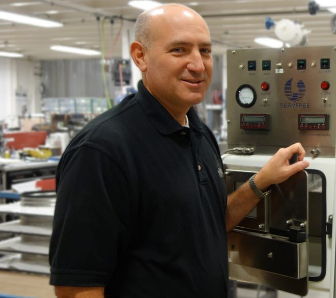 Germfree Labs CEO Keith Landy is pictured at the company's headquarters/manufacturing plant at the Ormond Beach Airport Business Park in this undated photo. Landy, 60, died Monday, Nov. 9, 2020 after a long battle with cancer. Germfree makes mobile and modular biosafety labs as well as biosafety equipment.