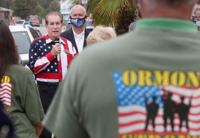 """State Sen. Tom Wright speaks to veterans and others gathered for a Veterans Day event at Barracks of Hope in Daytona Beach. """"Freedom is not free; so many have given so much to this country,"""" Wright said."""