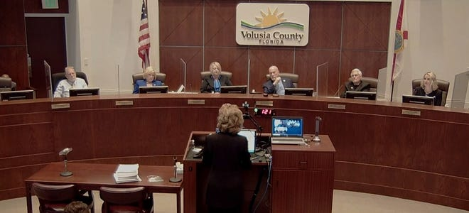 The Volusia County Council listens to Osteen resident Wanda Van Dam explain why she is opposed to a proposed amendment to change the allowed land use near where she lives during a council meeting on Tuesday, Nov. 10, 2020.